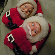 SALE Pair of Vintage Pinch Hanging Christmas Santa Ornament