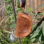 SALE Vintage 1950 Hand Tooled Leather Coin Purse