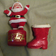 SALE Vintage Plastic Boot and Flocked Santa Christmas Ornaments