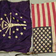 SALE Pair of Vintage Handheld Indiana State Silk and American 50 Star Flags