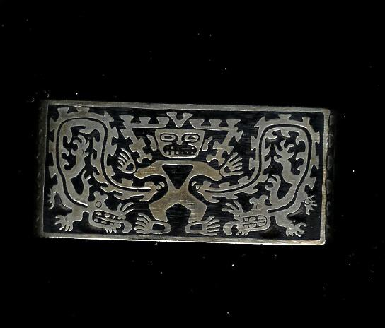 "1"" Heavy Sterling Silver Cuff Bracelet with Black Raised Enamel Aztec Design"