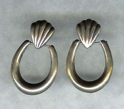 Vintage Mexico Sterling Silver Hinged Pierced Earrings