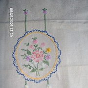SALE Embroidered Flowers on Pair of Linen Towels