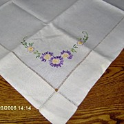 SALE Creamy Linen Table Scarf With Embroidered Purple Flowers and Drawn work