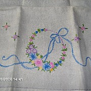 SALE Very Nice Linen Hand Towel With Embroidery Flowers