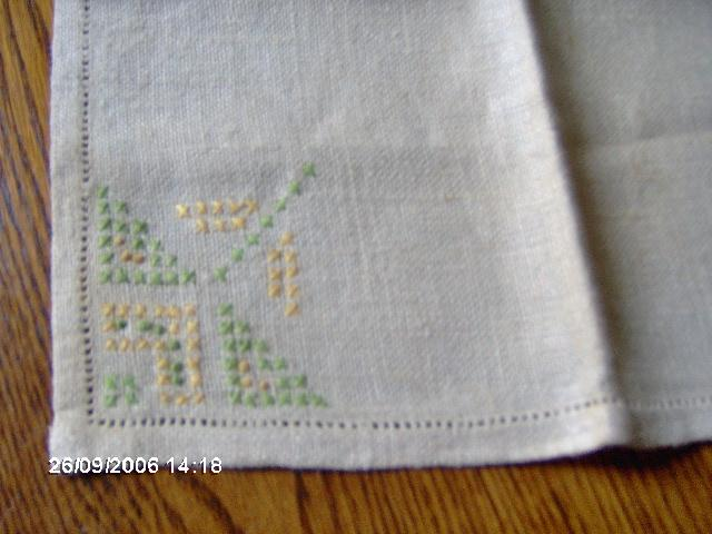 Pair Linen Napkins or Table Linens with Cross Stitch and Hem stitched Hem
