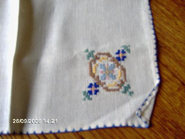 Linen Table Topper With Deco Design Done in Cross Stitch