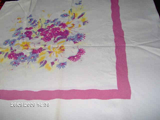 Larger Vibrant Pink and Blue Flower Tablecloth 1950's
