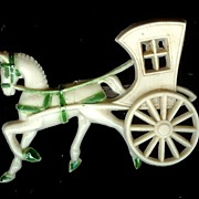 SALE Plastic Horse Drawn Carriage Pin with C Clasp