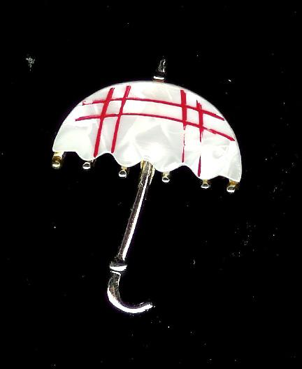 Faux Pearl Umbrella Brooch with Red Trim
