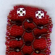 "SALE OOAK 1 1/2"" Beaded Cuff Bracelet with Lattice Design"