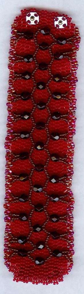 "OOAK 1 1/2"" Beaded Cuff Bracelet with Lattice Design"