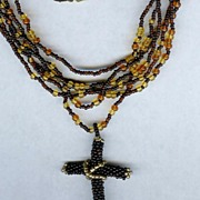 SALE OOAK Brown and Gold Multi Strand Seed Bead Necklace with Cross