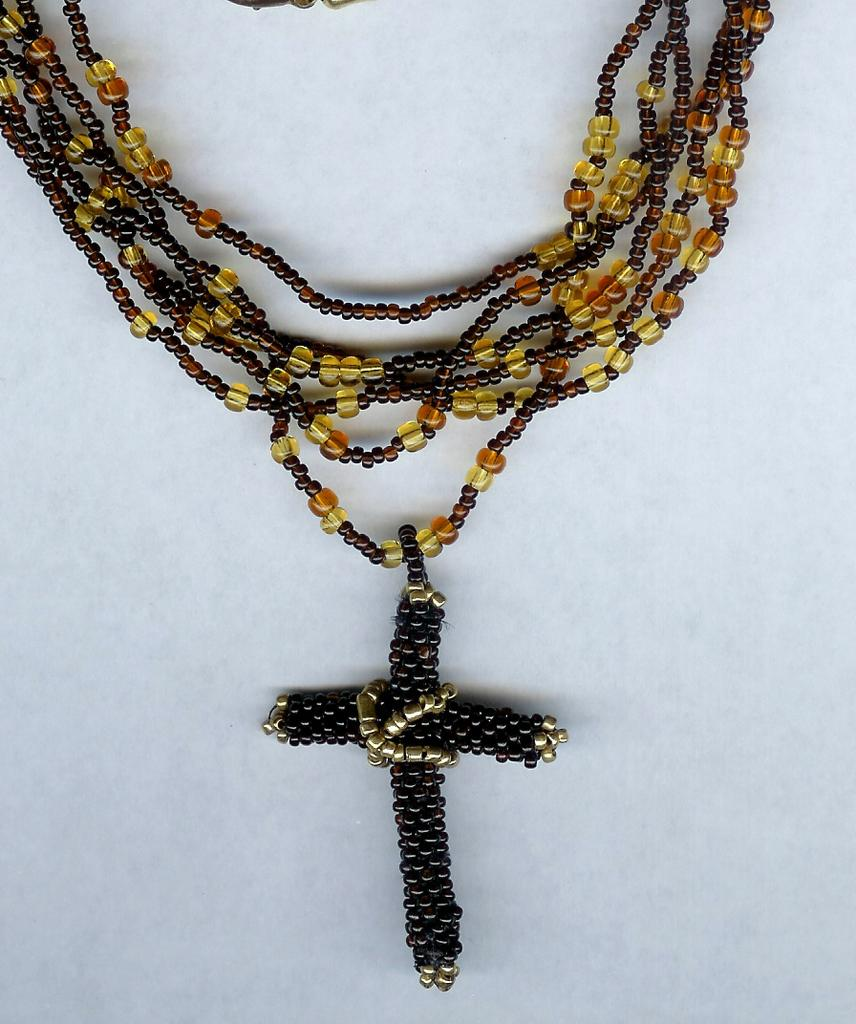 OOAK Brown and Gold Multi Strand Seed Bead Necklace with Cross