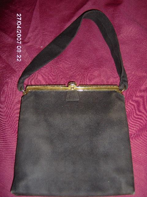 Saks Fifth Avenue Black Suede Purse with Pearl Trim