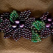 SALE Hand Made Purple Seed Bead Bracelet with Flowers OOAK