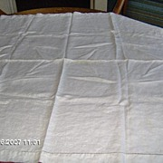 SALE Elegant Creamy Ivory Linen Hem Stitched Square Table Cover