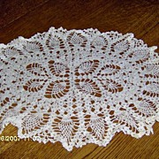 SALE Oval Cream Crochet Doily with Pineapple Design