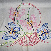 SALE Embroidered Table Runner with Butterflies