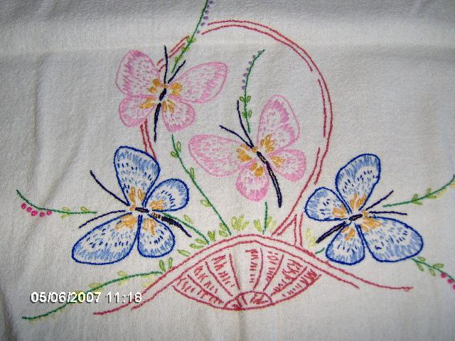 Embroidered Table Runner with Butterflies