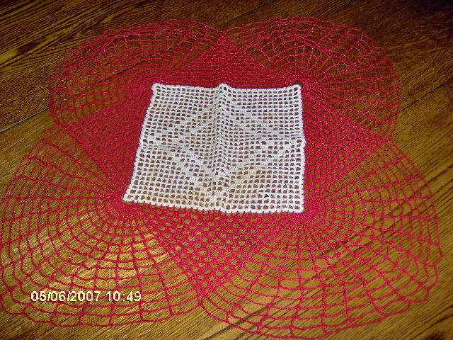 Crochet Red and Cream Lace Doily