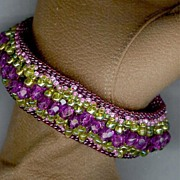 SALE Hand Beaded Cuff Bracelet in Greens and Purples