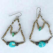 SALE Handmade Turquoise and Bronze Glass Bead Pierced Earrings