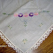 SALE Embroidered Square Flowered Table Cover with Lace Trim