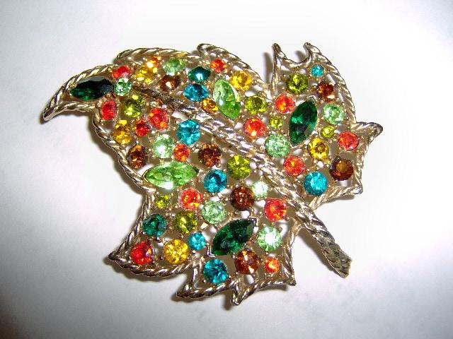 Fruit  Salad Rhinestone Leaf Brooch or Pin on Gold Tone Metal