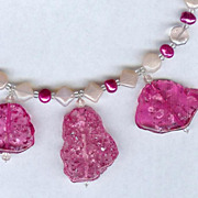 SALE Pink Amber,Pearls and Glass Beads with Sterling Silver Necklace