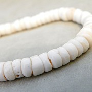 "SALE White Heishi Shell Beads Unisex Men's or Women's 17"" Necklace"