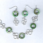 SALE Green Mother of Pearl Donuts with Sterling Silver Bracelet and Earrings