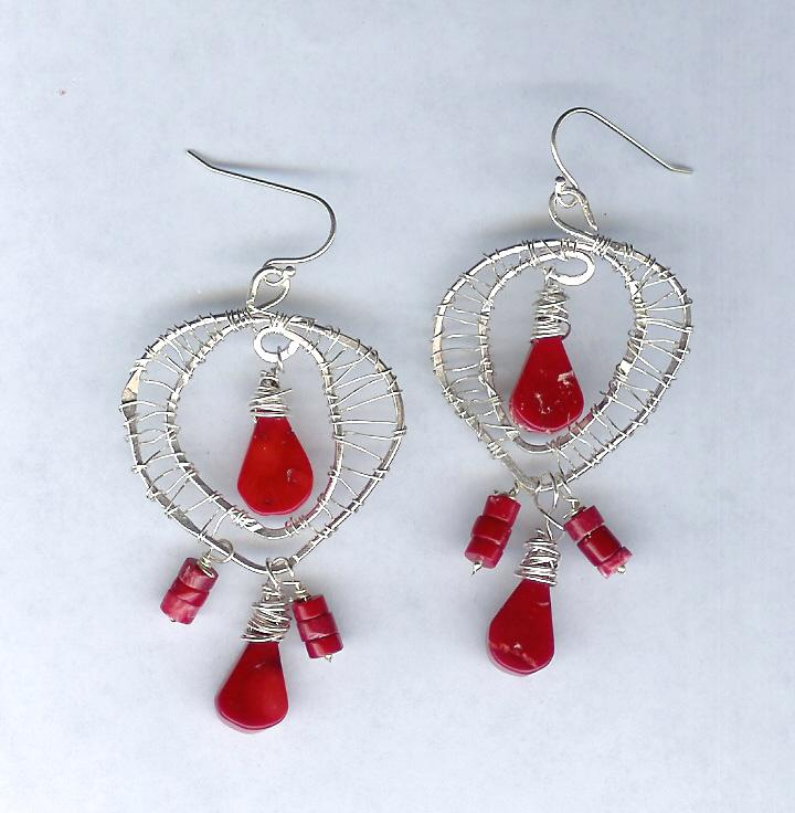 Woven Sterling Silver and Dyed Red Bamboo Coral Pierced Earrings