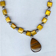 SALE Tiger Eye Brooch and Mother Of Pearl Pillow Beads with Sterling Silver Necklace