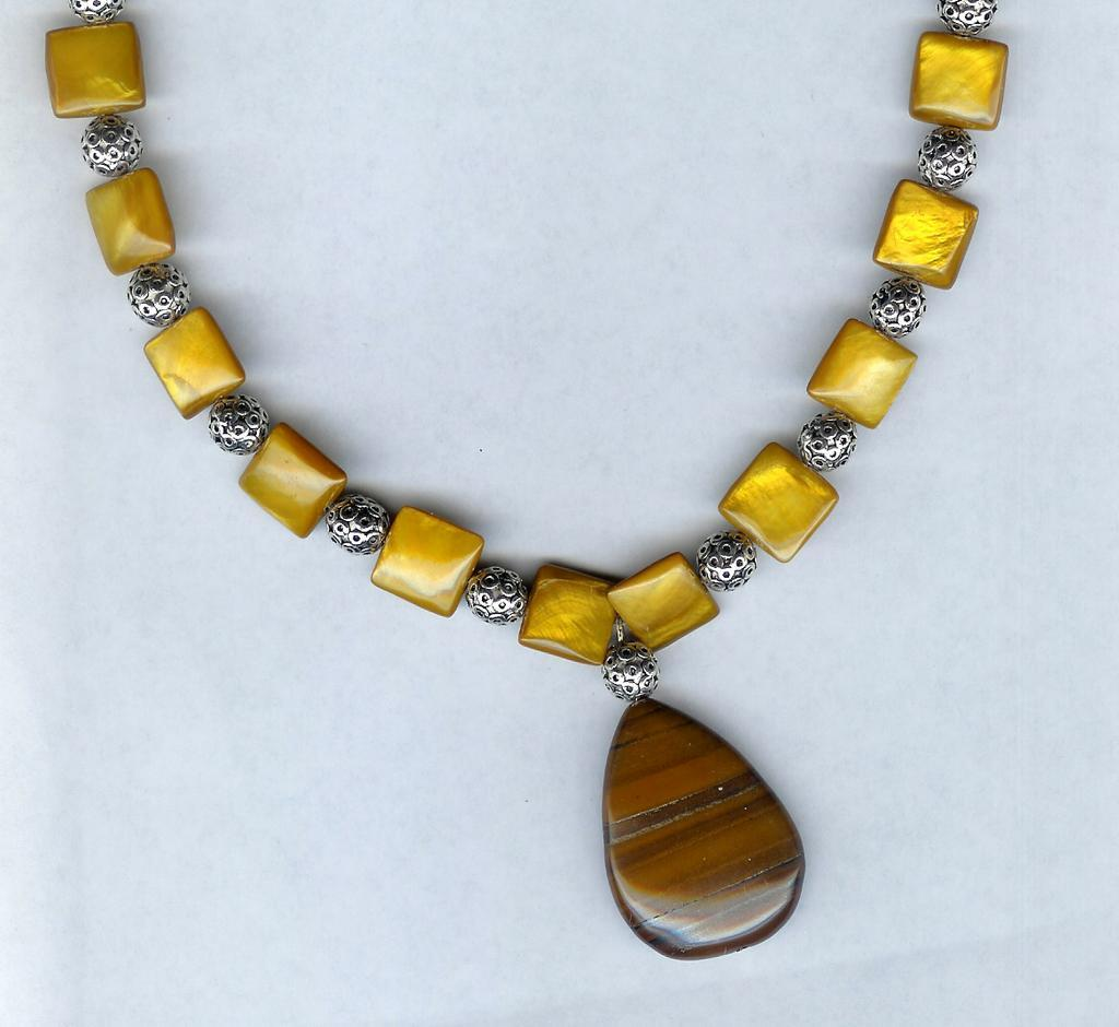 Tiger Eye Brooch and Mother Of Pearl Pillow Beads with Sterling Silver Necklace