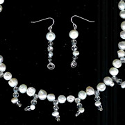 SALE Sterling Silver and White Freshwater Potato Pearl with Clear Crystal Necklace and Earring