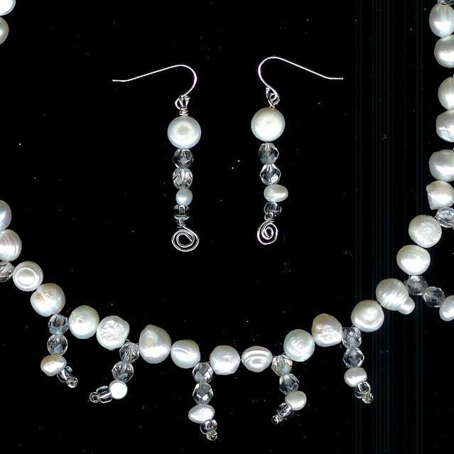 Sterling Silver and White Freshwater Potato Pearl with Clear Crystal Necklace and Earrings
