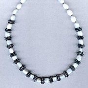 SALE White Opal with Black Seed Bead Spacers and Sterling Silver Necklace