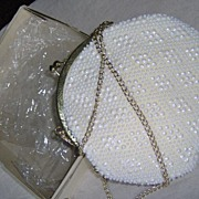 SALE Cutest Little White Plastic Beaded Evening Bag in box