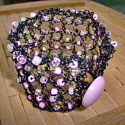 SALE Black Metal Crochet Cuff Bracelet with Pink Beads