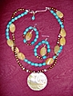 Turquoise, Freshwater Brown Pearls and Honey Quartz Necklace with Matching Earrings