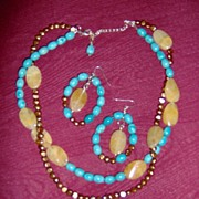 SALE Turquoise, Freshwater Brown Pearls and Honey Quartz Necklace with Matching Earrings