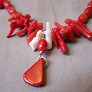 SALE Sterling Silver & Red Coral Necklace with Branch, Round Bead and Barrel Bead Coral