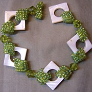 SALE OOAK Apple Green Seed Bead And White Mother Of Pearl Bracelet