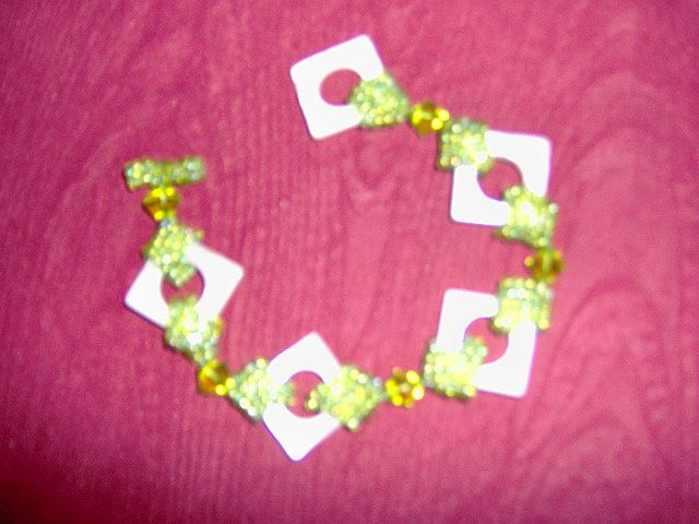 OOAK Apple Green Seed Bead And White Mother Of Pearl Bracelet