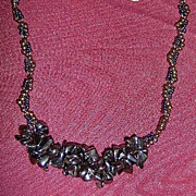 SALE Black And Copper Seed Bead Woven Necklace