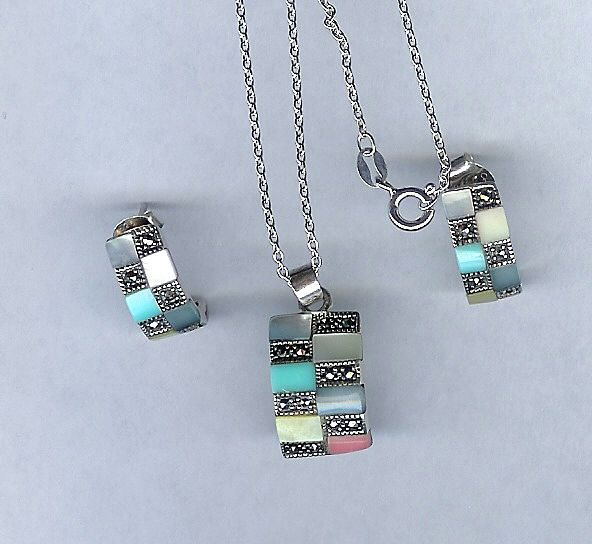 Sterling Silver with Marcasites and Multi Color Mother of Pearl Necklace and Pierced Earrings