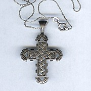 SALE Larger Ornate Fancy Sterling Silver Cross with Long Chain