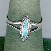 SALE Dainty Sterling Silver Turquoise Diamond Shape Ring