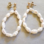 SALE 14K Yellow Gold with Fresh Water Pearl Hoops with Pierced Earring Posts